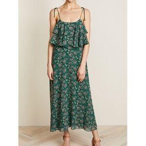 Rebecca Minkoff Maxi Dress Green Floral Ruffle 4